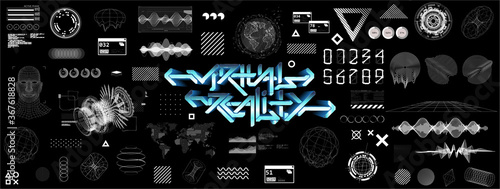 Obraz Modern universal futuristic shapes, HUD, GUI, Sky-fi with glitch effects. Cyberpunk retrofuturism concept. Vaporwave digital abstract elements for web banners, poster design and UI, UX, KIT. - fototapety do salonu