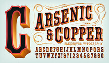 A Western Style Copper Clad Alphabet With Red And Black. This Font Is Good For Frontier Town Signage, Circus Carnival Graphics, Or Classic Steampunk Styling.
