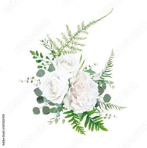 Vector floral bouquet design: Garden ivory white powder pale peony Rose flower, Eucalyptus branch, greenery leaves, forest ferns, asparagus & herbs Wallpaper Mural