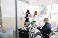 Woman Using Whiteboard With Co...