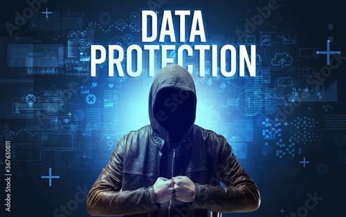 Fototapety, obrazy: Faceless man with DATA PROTECTION inscription, online security concept