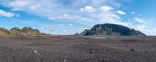 Glacial River Bed In Volcanic Landscape Near Myrdalsjokull In South Iceland.