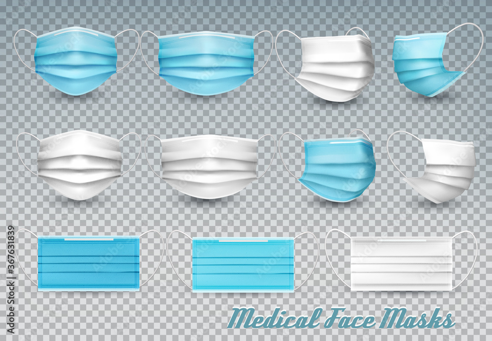 Fototapeta Collection of a blue and white medical face masks isolated on transparent background. To protect from infection and coronavirus Covid -19. Realistic Vector Illustration.