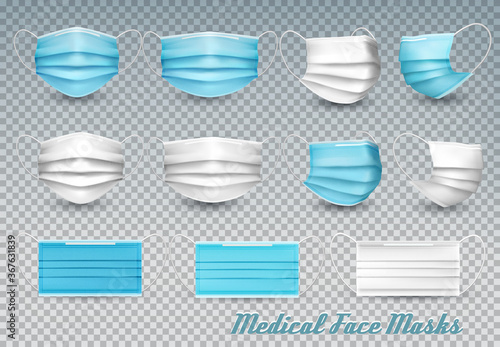 Collection of a blue and white medical face masks isolated on transparent background. To protect from infection and coronavirus Covid -19. Realistic Vector Illustration. - 367631839