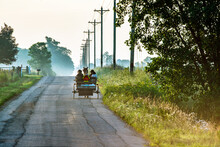 Open, Amish Buggy On Rural Ind...