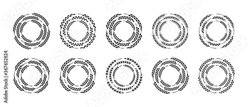 Set of circle frames made of wheat ears, isolated on a white background, vector illustration.