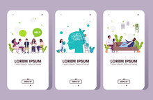 Set Upset People Visiting Psychologist Depression Problems Stress Psychotherapy Session Concept Smartphone Screens Collection Horizontal Full Length Vector Illustration