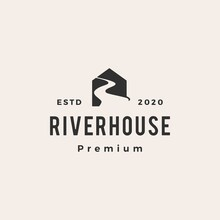 Road River House Hipster Vintage Logo Vector Icon Illustration