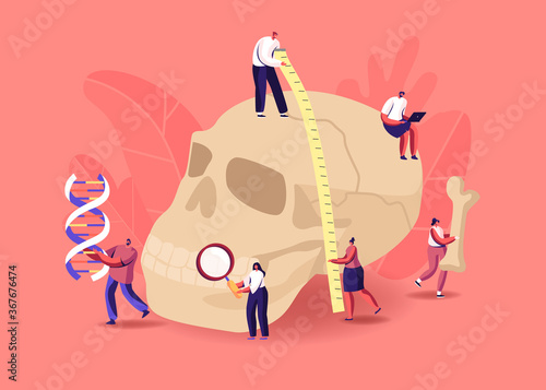 Fototapeta Anthropology Studying. Tiny Characters Measuring Huge Human Skull, Carry Bones and Dna Spiral. Paleolithic Research obraz
