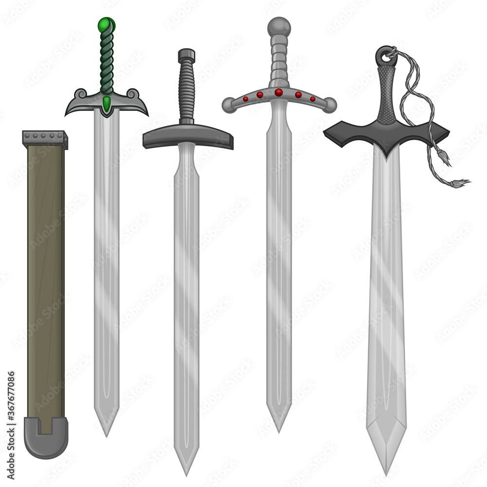 Obraz Swords and scabbard vector design fototapeta, plakat
