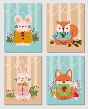 Set Of Cards With Cute Woodland Animals -  Mouse, Squirrel, Rabbit, And Fox. For Greeting Card, Postcard, Poster, Wall Decor, Wallpaper, Nursery, Etc.
