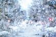 street in winter city, landscape background december in urban view alley