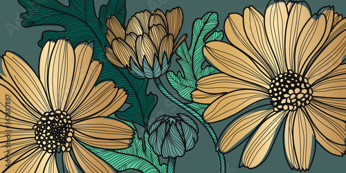 Barberton daisy, Gerbera, Luxury gold floral  pattern for printing, flora postcards, pcBeautiful blooming poppy flowers and leaf with golden contour lines background vector Canvas Print