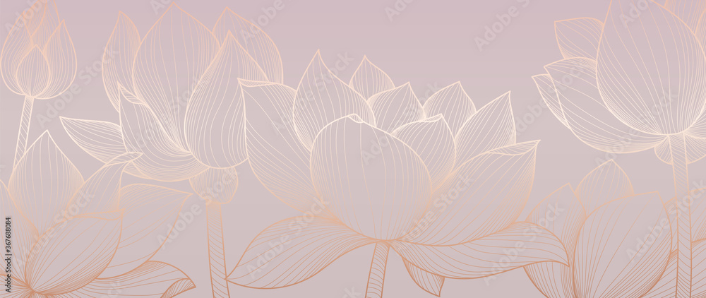 Fototapeta Golden lotus  background pattern vector. Tropical flower background design for cosmetics,health care, print, postcards, packaging, covers, vector illustration.