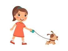 Joyful Little Girl Is Walking On A Leash Of A Cute Puppy. The Concept Of Friendship With Pets. Cartoon Characters Isolated On White Background. Flat Vector Color Illustration.
