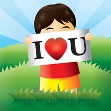 Boy With I Love U Sign