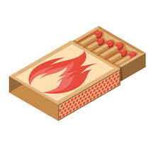 Isometric 3d Icon Matchbox. Cardboard Box With Wooden Matches. Vector Illustration Cartoon Design. Isolated On White Background.