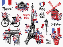 Paris Vintage Watercolor Illustration Set. France Capital Romantic Illustration In Beautiful Style. Vector Sketches Set On White Background