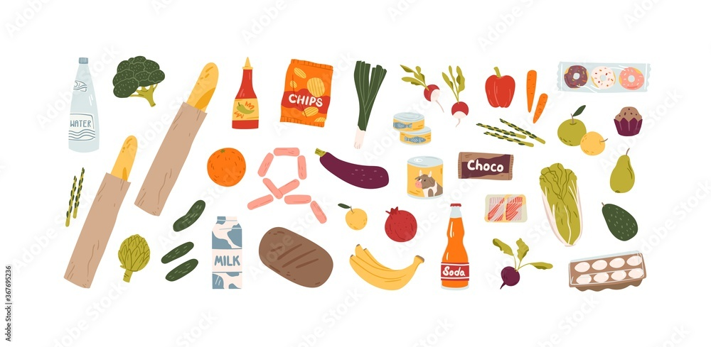 Fototapeta Set of different grocery food and drink products vector flat illustration. Collection of various fruit, vegetables, beverage, snack, and can isolated on white. Healthy and unhealthy meal