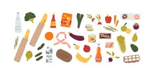 Set Of Different Grocery Food And Drink Products Vector Flat Illustration. Collection Of Various Fruit, Vegetables, Beverage, Snack, And Can Isolated On White. Healthy And Unhealthy Meal