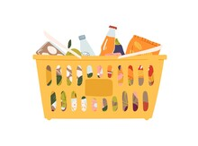 Plastic Grocery Cart With Handles Full Of Products Vector Flat Illustration. Shopping Basket With Food, Drink, Bottle, Fruit And Vegetable Isolated On White. Equipment From Self-service Shop