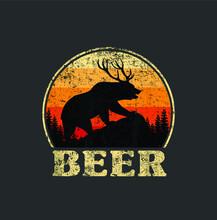 Bear Deer Funny Beer Retro Vin...