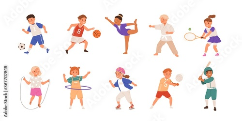 Obraz Happy children playing sport game, doing physical exercise. Training set. Football, baseball, tennis, karate. Active healthy childhood. Flat vector cartoon illustration isolated on white background - fototapety do salonu