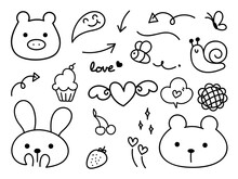 Cute Animal Hand Drawn Doodle ...
