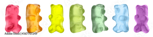 Obraz Set with delicious jelly bears on white background. Banner design - fototapety do salonu