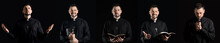 Handsome Praying Priest On Dark Background