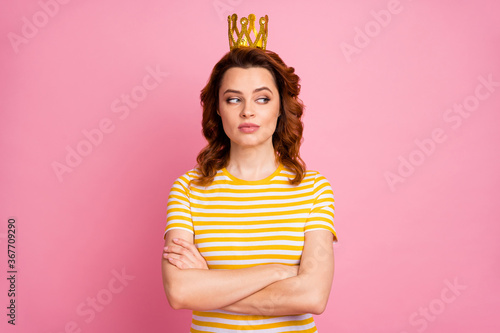 Fototapeta Close-up portrait of her she nice-looking attractive lovely pretty rich arrogant content wavy-haired girl folded arms wearing exclusive crown isolated over pink pastel color background obraz