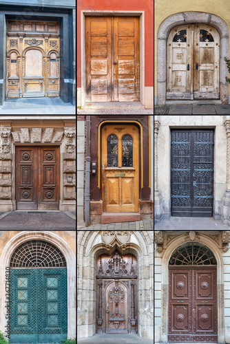 Fototapety, obrazy: Old wooden doors with beautiful metal and wood trim in the historical part of various European cities