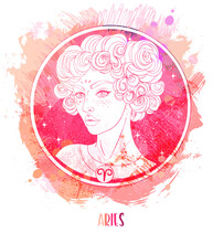 Watercolor Drawing Of Taurus Astrological Sign As A Beautiful Girl Over Paining. Zodiac Vector Illustration Isolated On White. Future Telling, Horoscope, Alchemy, Fashion Woman.