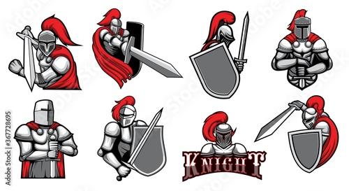 Fotografía Knight warrior with helmet, shield and Medieval armor with sword, vector heraldic icons