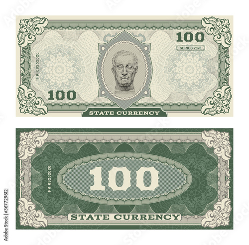 Vector money banknotes illustration with portrait of Gattamelata by Donatello classical statue фототапет