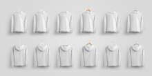 Mockup Universal White Hoodie On Different Hangers, Fashionable Clothes, For Presentation Of Design And Pattern.
