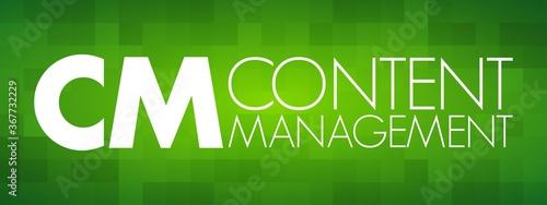 CM - Content Management acronym, business concept background Canvas Print
