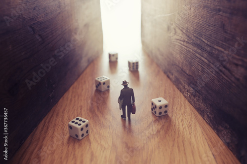 Fotografia A surrealistic image of a man facing a dead end after trying his luck and encountering a problem