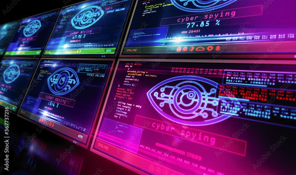 Fototapeta Cyber spying hacking and supervise eye symbol on screen illustration