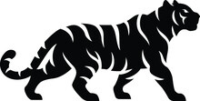 Simple Design Of Silhouette Of Tiger Walking Vector