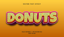 3D Donuts Text Effect, Editable Text Style