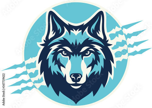 Fototapeta Head of Wolf With Claws Background Vector Design obraz