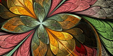 Multicolored Beautiful Fractal Flower In Stained-glass Window Style. You Can Use It For Invitations, Notebook Covers, Phone Case, Postcards, Cards, Wallpapers. Artwork For Creative Design And Art.