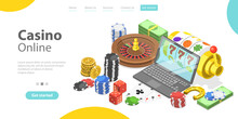 3D Isometric Flat Vector Conceptual Illustration Of Online Gambling Platform For Live Poker, Roulette, Slot Machine And Dices, Internet Casino.