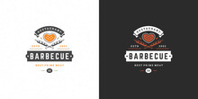 Barbecue Logo Vector Illustration Grill House Or Bbq Restaurant Menu Emblem Meat Steak Silhouette