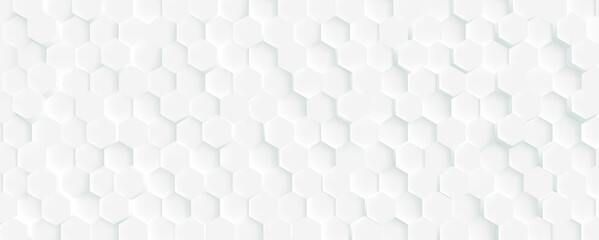 3D Futuristic honeycomb mosaic white background. Realistic geometric mesh cells texture. Abstract white vector wallpaper with hexagon grid