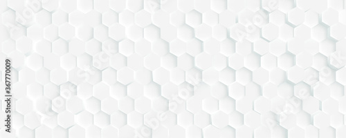 Photo 3D Futuristic honeycomb mosaic white background