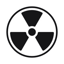 Radioactive Symbol Icon. Nuclear Radiation Warning Sign. Atomic Energy Logo. Painted And Ink Grunge Style. Vector Illustration Image. Isolated On White Background.