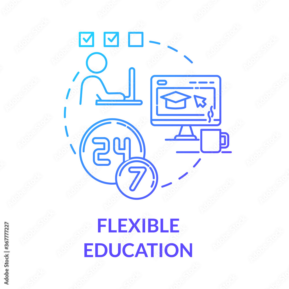 Fototapeta Flexible education concept icon. Remote learning. Online universities. E learning and teaching. Homeschooling idea thin line illustration. Vector isolated outline RGB color drawing