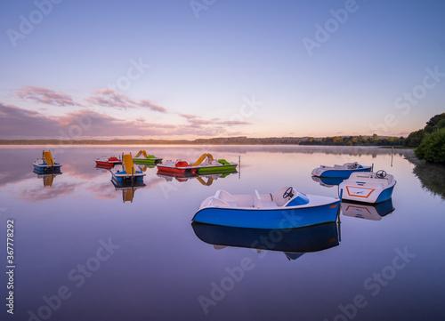 Pedalos y barcos de ocio en el Lago Leon, Francia Canvas Print